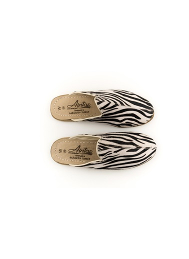 Aintap %100 Hakiki Deri Zebra Kadın Gaziantep Yemeni Terlik Zebra
